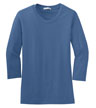 L517 - Ladies' Modern Stretch Cotton 3/4-Sleeve Scoop Neck Shirt