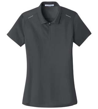 Ladies' Pinpoint Mesh Zip Polo