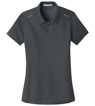 Ladies' Pinpoint Mesh Zip Polo